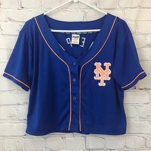PINK NY Mets cropped jersey